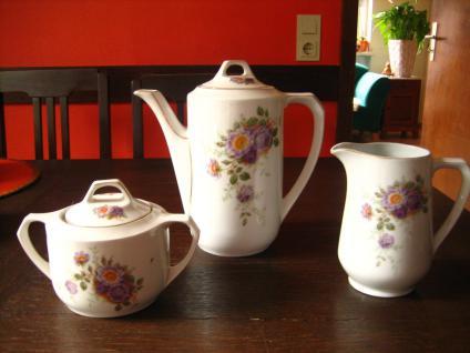 Jugendstil Kaffeekern Kaffeekanne Zuckerdose Milchkanne Eamag Schönwald Blumen
