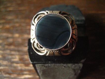 super toller Art Deco Designer Ring Onyx 835er Silber 17, 5 mm Gr 55 Handarbeit