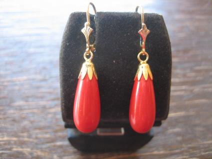 elegante Ohrringe Hänger leuchtend Rote Koralle Pampeln 925er Silber gold NEU
