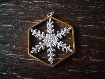 ausgefallener Vintage Designer Anhänger Schneeflocke Eiskristall Glitzer gold