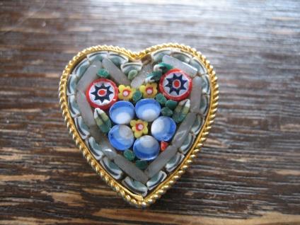 Romantik pur feine Millefiori Mikro Mosaik Brosche Herz Italien Vergissmeinnicht