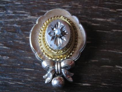 traumhaft schöne Biedermeier Brosche gold Schleife Pampel Perle reich verziert