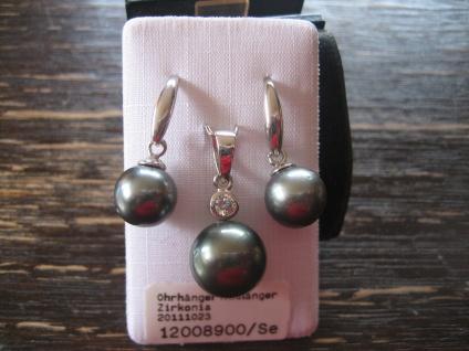 exquisites Tahitiperlen Set Anhänger Ohrringe Hänger 925er Silber Tahiti Perlen