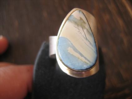 exklusiver Herrenring Boulder Opal Ring Opalring 925er Silber RG 57 - 59 Unikat