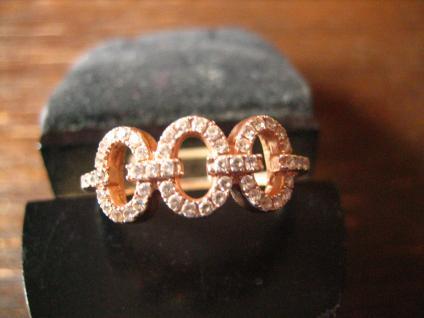 zarter moderner Designer Ring roségold vergoldet 925er Silber Zirkonia RG 58