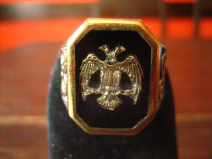 prächtiger Herrenring Adler Wappen reich verziert 925er Silber gold G 65 20, 5 mm - Vorschau 1