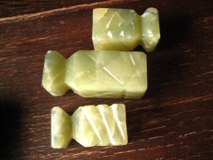 3 Vintage Kerzenständer Kerzenhalter echte schwere Jade 50er Jahre Design Rarität - Vorschau 3