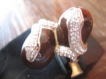prächtige moderne Designer Ring Schlange 925er Silber Emaille Zirkonia NEU RG 60 - Vorschau 2