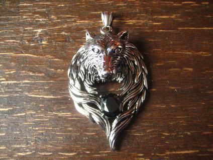 prächtiger Wolf Wolfskopf Werwolf Anhänger Biker Western Gothic Edelstahl NEU