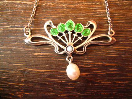 herrliches bezauberndes Jugendstil Collier Emaille grün Opal Perle 925er Silber