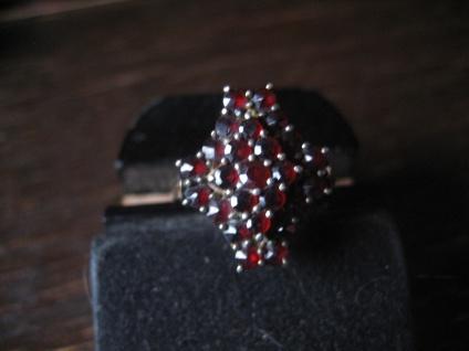 Feiner Biedermeier Granat Ring 800er Silber gold böhmische Granate nostalgisch