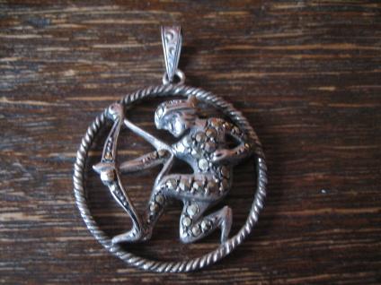 großer Art Deco Markasit Anhänger Sternzeichen Schütze Horoskop 925er Silber