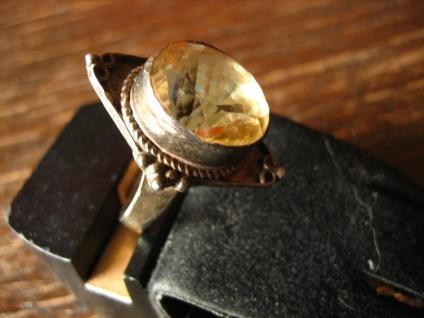 sehr schöner Art Deco Ring Citrin gelb 925er Silber Handarbeit Unikat RG 60 19 mm - Vorschau 3