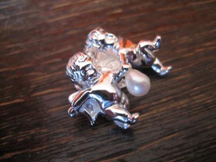 bezaubernder Anhänger 2 Engel Putto Putti mit Perle spielend 925er Silber NEU - Vorschau 2