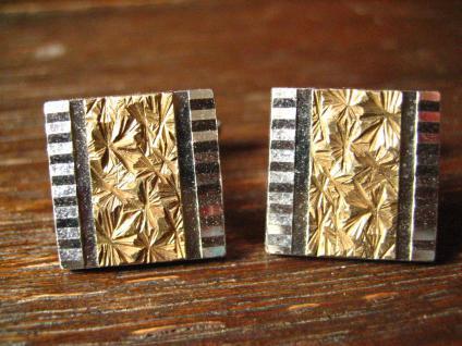 tolle Art Deco Manschettenknöpfe 800er Silber Bicolor gold tolle Struktur