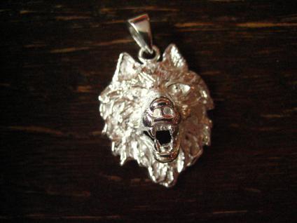 starker Wolf Wolfskopf Anhänger massiv 925er Silber plastisch gearbeitet