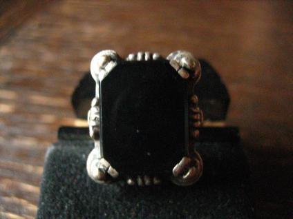 klassischer Art Deco Herrenring Siegelring Ring 835er Silber Onyx 18 mm RG 57