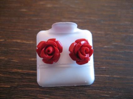 bezaubernde Ohrringe Stecker Rose Rosen Rote Koralle 925er Silber 12 mm NEU