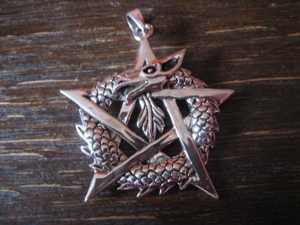 geschmackvoller Drachen Anhänger Drache im Pentagramm 925er Silber neu 4 cm