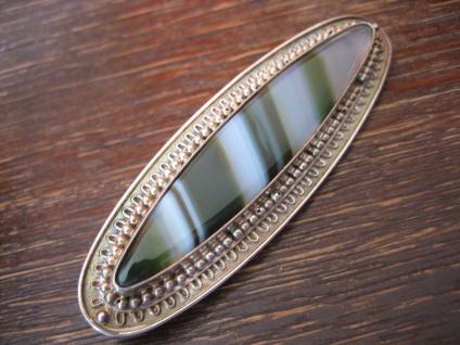 Art Deco Brosche 935er Silber grüner Achat Toni Riik Kunstgewerbliche Werkstätte - Vorschau 3