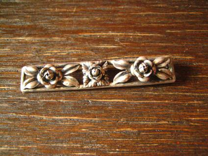 tolle Art Deco Brosche 900er Silber plastische Rosen Rose Krawattennadel Nadel - Vorschau 3