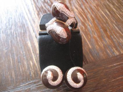 prächtige moderne Designer Ring Schlange 925er Silber Emaille Zirkonia NEU RG 60 - Vorschau 4