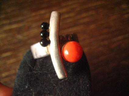 exklusiver vintage Designer Ring echte Rote Koralle Onyx 925er Silber RG 58