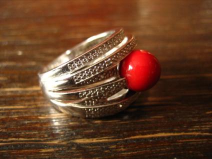 prächtiger Vintage Designer Ring 925er Silber Zirkonia Stein wie rote Koralle