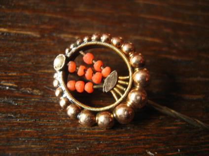 sehr dekorative antike Krawattennadel / Schmucknadel / Stickpin Silber rotgold