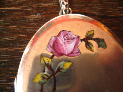 Jugendstil Medallion Emaille Rose Rosen 835er silber Art Nouveau Locket enamel 2