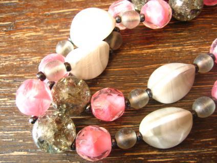 Vintage Collier böhmisches Glas Glasperlen 2reihig grau rosa 50er Jahre Fifties - Vorschau 3