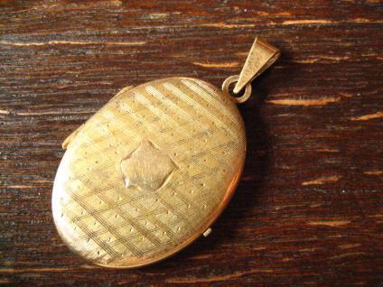 klassisches Jugendstil Medallion Anhänger mit Wappen verziert 835er Silber gold - Vorschau 2