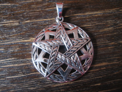 geschmackvoller Anhänger Amulett Drudenfuß Pentagramm Pentakel 925er Silber neu
