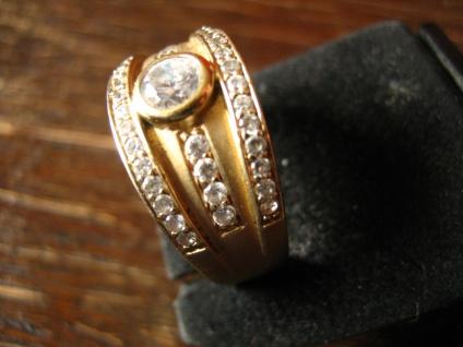 sehr edler moderner Designer Ring 925er Silber mattiert gold vergoldet Zirkonia - Vorschau 1
