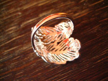 super schöner moderner Feder Ring ultra breit 925er Silber NEU RG 56 17, 5 mm - Vorschau 4