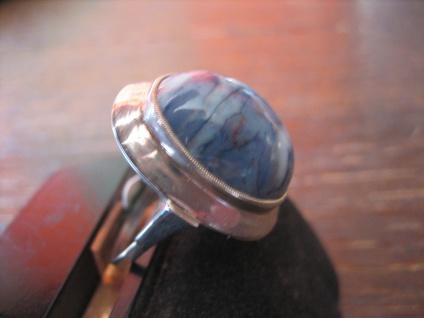 prächtiger Art Deco Ring blauer Achat Cabochon 830er Silber RG 54 / 55 17, 25 mm - Vorschau 3