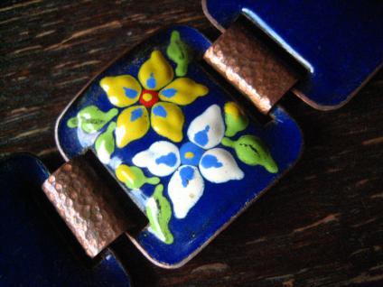 traumhaftes Vintage Designer Emaille Armband strahlend blau Blüten 2, 8 cm breit - Vorschau 2
