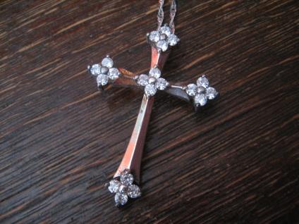 eleganter moderner Kreuz Anhänger 925er Sterling Silber Zirkonia an Silberkette