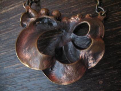 vintage Modernist Designer Blüten Collier Bronze Rotbronze Finnland 60er Jahre - Vorschau 2