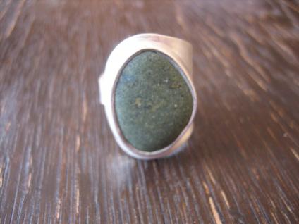 markanter Herrenring Designer Ring Kieselstein grün 925er Silber RG 58 59 Unikat