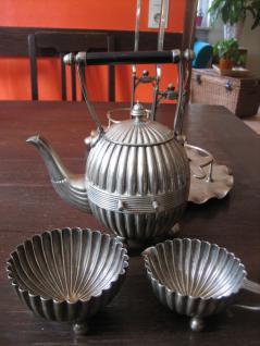 prächtiges 4tlg Bachelor Teeservice Tea Set Ständer Queen Anne silber pl um 1880 - Vorschau 2