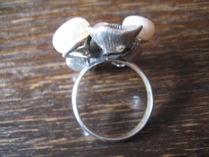 origineller Designer Ring echte Zuchtperlen organische Struktur 925er Silber NEU - Vorschau 4