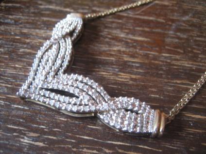 edles Vintage Modernist Diamantcollier Collier 2 ct Diamanten 925er Silber gold - Vorschau 3
