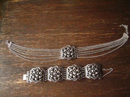Opulentes Vintage Trachtenschmuck Armband 4 cm breit 925er Silber 74, 5 gr Dirndl - Vorschau 4