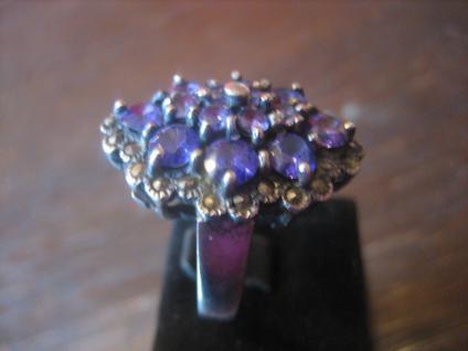 exklusiver Ring üppig besetzt mit Flieder Amethyst und Markasiten 925er Silber - Vorschau 2