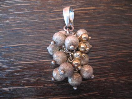 seltener Vintage Anhänger Perlclips 925er Silber matt vergoldet Kugeln beweglich