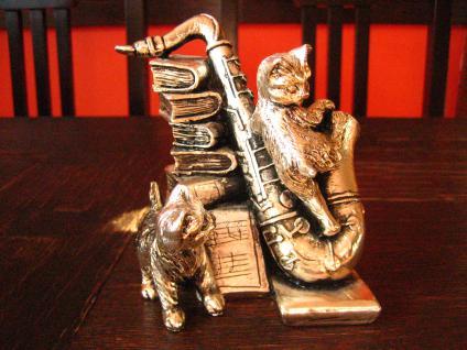 große Figurengruppe Skulptur Katze Katzen mit Saxophon Tekform 925er Silber pl