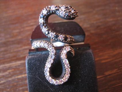 Krafttier Schlange - starker Schlangen Ring 925er Silber gold Zirkonia RG 55-60 - Vorschau 2