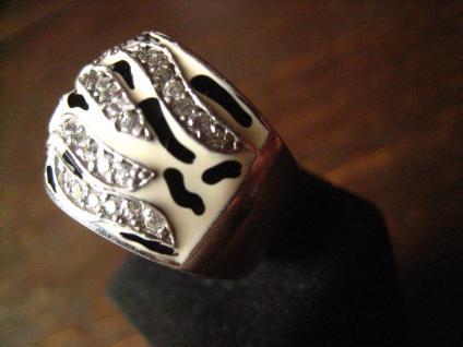 moderner edler breiter Designer Ring 925er Silber Emaille schwarz weiß Zirkonia - Vorschau 3