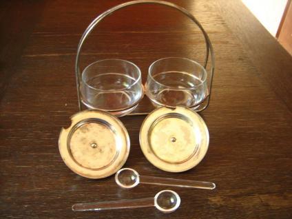 stilvolle Frühstücks Menage 2 Marmeladenglas Glas Gläser mit Ständer und Löffel - Vorschau 2
